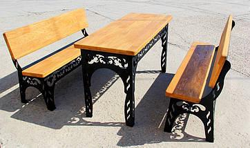 Набор садовой мебели (Стол, скамейки 150см) цвет черный, фото 3