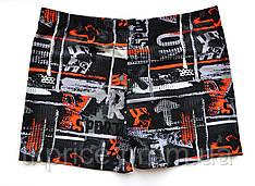 Стильные мужские купальные боксеры 1102 с 48 по 56 рр. черные с оранжевым