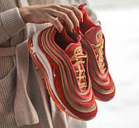 Air Max 97 Velvet Red Gold | кроссовки женские; золотые-оранжевые; рефлектив; весенние; найк