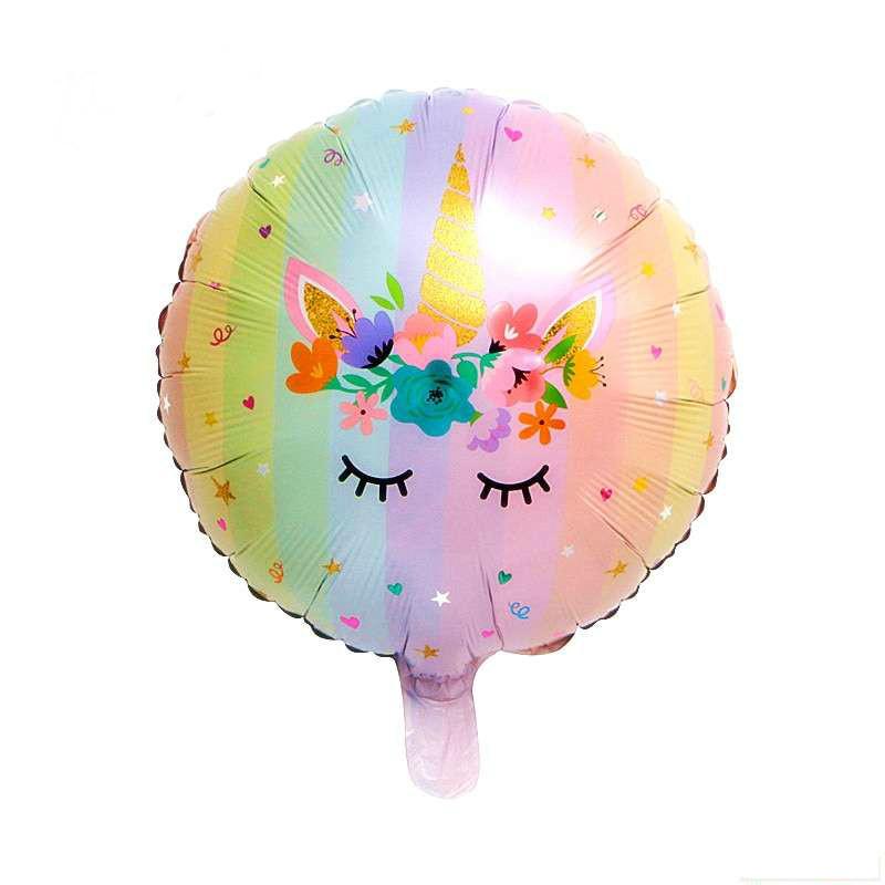 Воздушный фольгированный шар Единорог цветочный