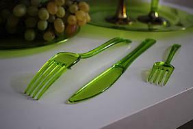 Пластиковые вилки 24 шт 130 мм плотные десертные зеленые оптом для ресторанов, кейтеринга Capital For People.