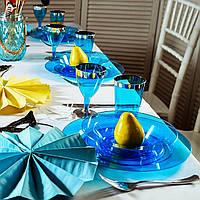 Тарелка пластиковая суповая 6 шт 350 мл оптом от производителя Capital For People для horeca ресторанов синяя.