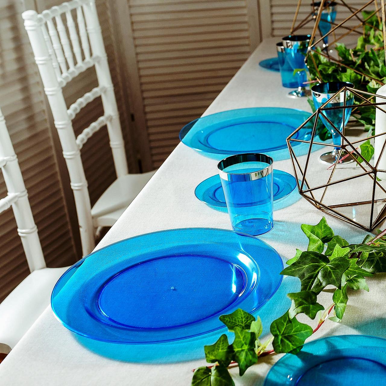 Пластиковая посуда тарелка 6 шт 260 плотная синяя оптом от производителя для ресторанов, horeca CFP