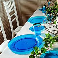 Пластиковая посуда тарелка 6 шт 260 плотная синяя оптом от производителя для ресторанов, horeca CFP, фото 1