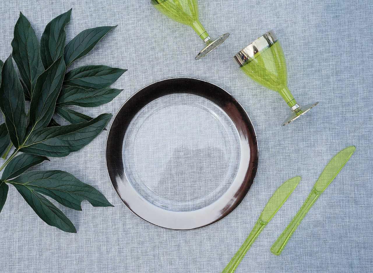 Тарелки пластиковые 6 шт 260 мм прозрачные с серебром  оптом для ресторанов, баров, horeca CFP