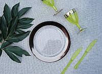 Тарелки пластиковые 6 шт 260 мм прозрачные с серебром  оптом для ресторанов, баров, horeca CFP, фото 1