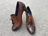 Туфлі жіночі шкіряні коричневі,вироблені в Іспанії