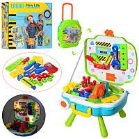 Детский игровой набор инструментов L666-23, верстак-чемодан, инструменты, музыка, свет, на батарейках