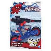 Игровой набор Человек-паук и мотоцикл с пусковым механизмом - Spider-Man, Spider Cycle, Blast & Go, Hasbro