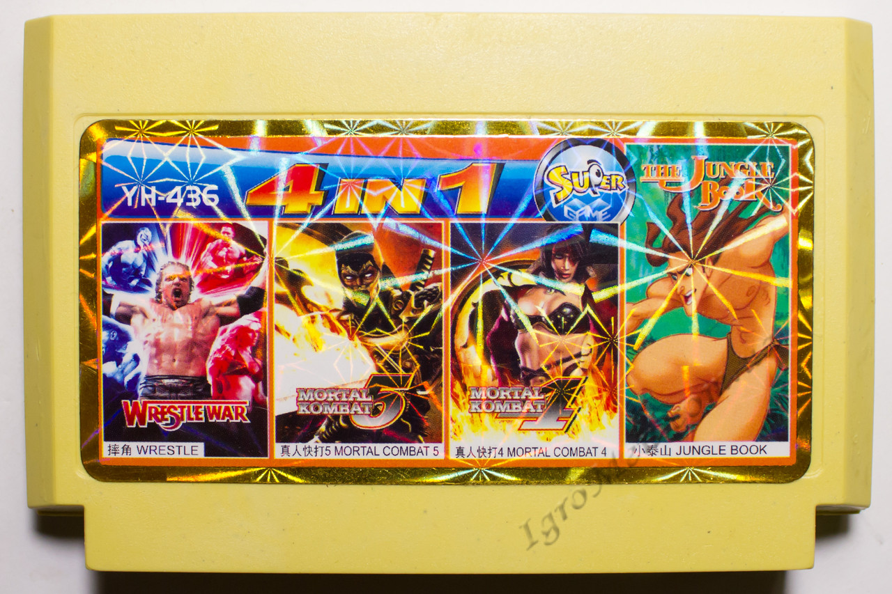 Картридж денди 4 в 1 Jungle Book, Mortal Kombat 4, 5, Wrestle War