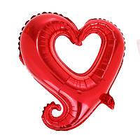 """Шар фольгированный сердце фигурное красное, 18"""""""