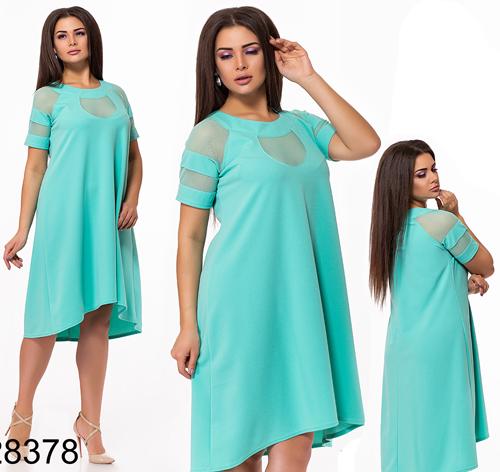 Женское свободное платье с сеткой (мята) 828378