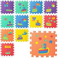 Детский коврик-мозаика M 5732, цифры/День рождения, 12 деталей, 6 текстур, пазл