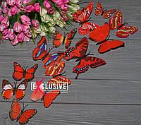 Объемные 3Д красные бабочки для декора интерьера, фото 1