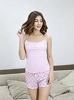 Летняя пижама женская майка + шорты Роксана XL розовый, фото 1