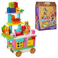 """Детский конструктор """"Магазин"""" 5338, прилавок на колесах, продукты, 90 деталей"""