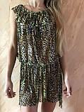 Платье-туника из сетки с коричнево-бежевым леопардовым принтом размер 44-48, фото 2