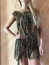 Платье-туника из сетки с коричнево-бежевым леопардовым принтом размер 44-48