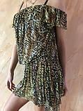 Платье-туника из сетки с коричнево-бежевым леопардовым принтом размер 44-48, фото 3