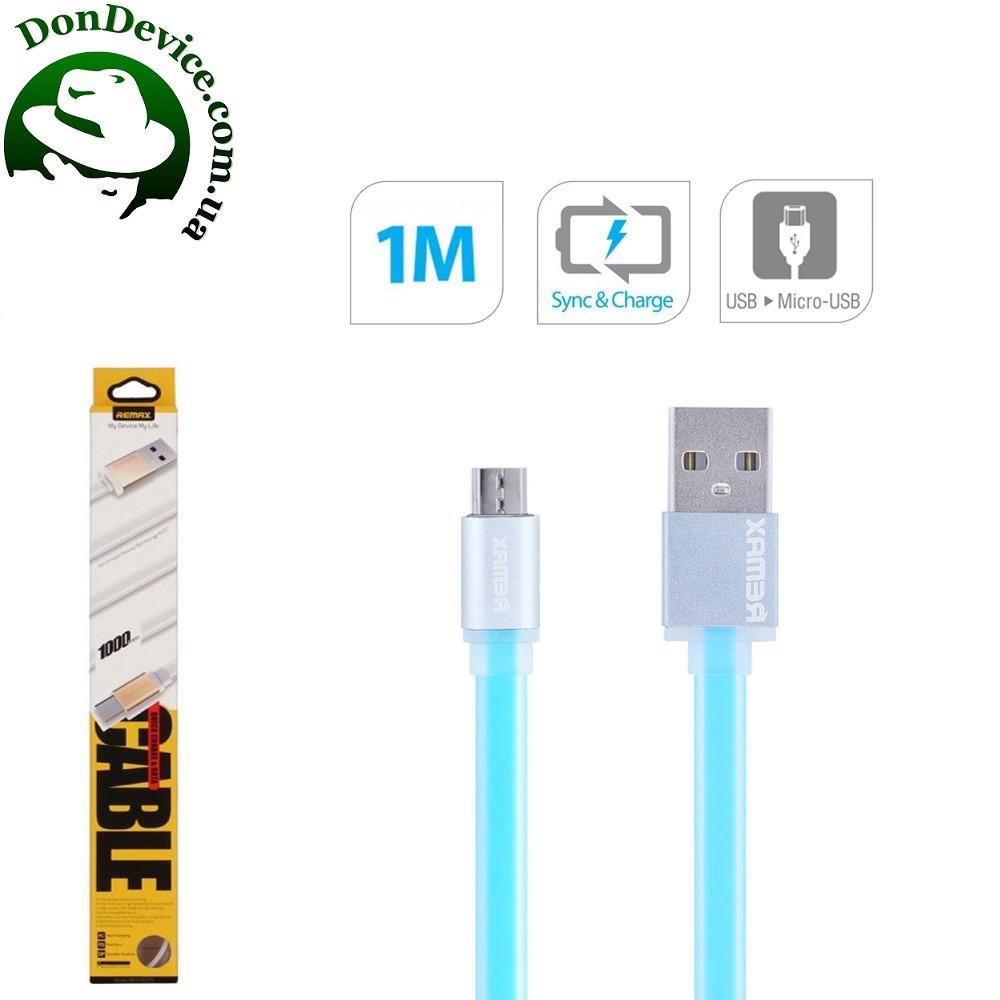 Кабель USB - MicroUSB 1m Remax Colourful  MicroUSB 1m  RC-005m,голубой