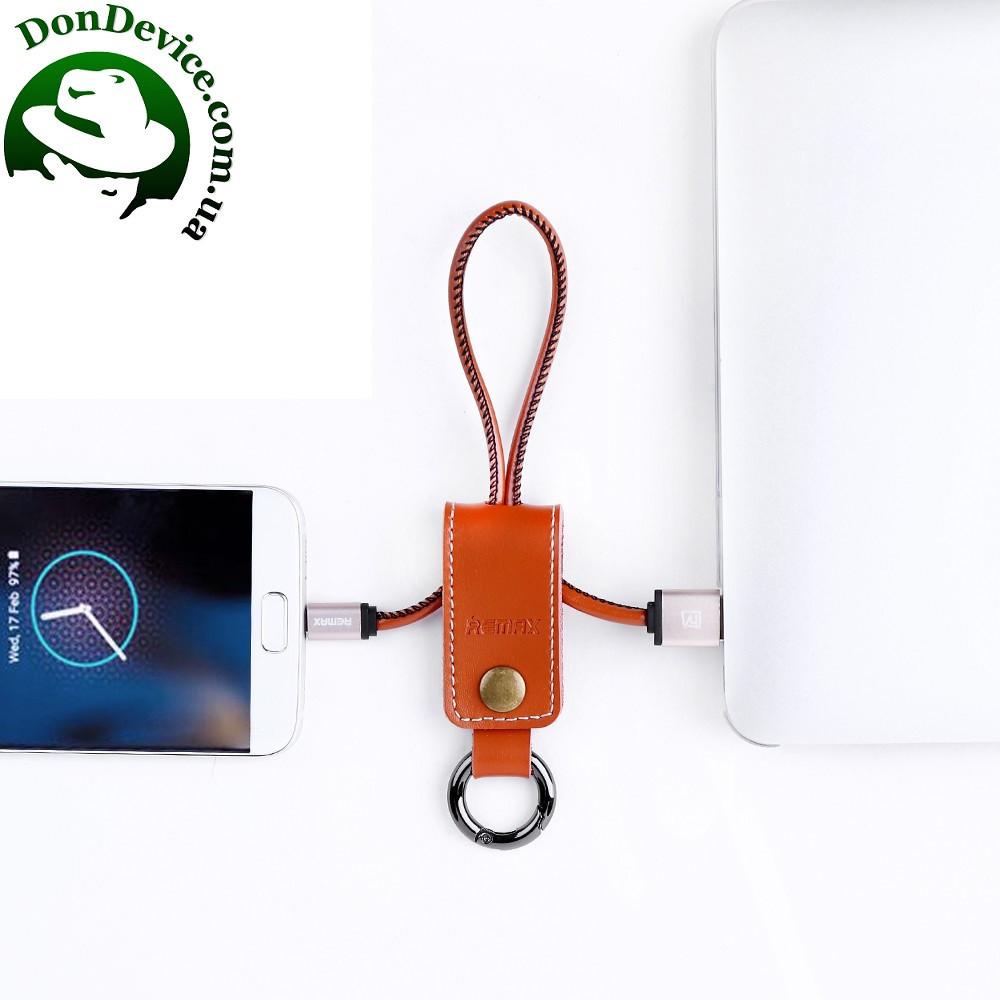 Кабель USB - MicroUSB 1m Remax Western брелок,шкіра RC-034m, коричневий