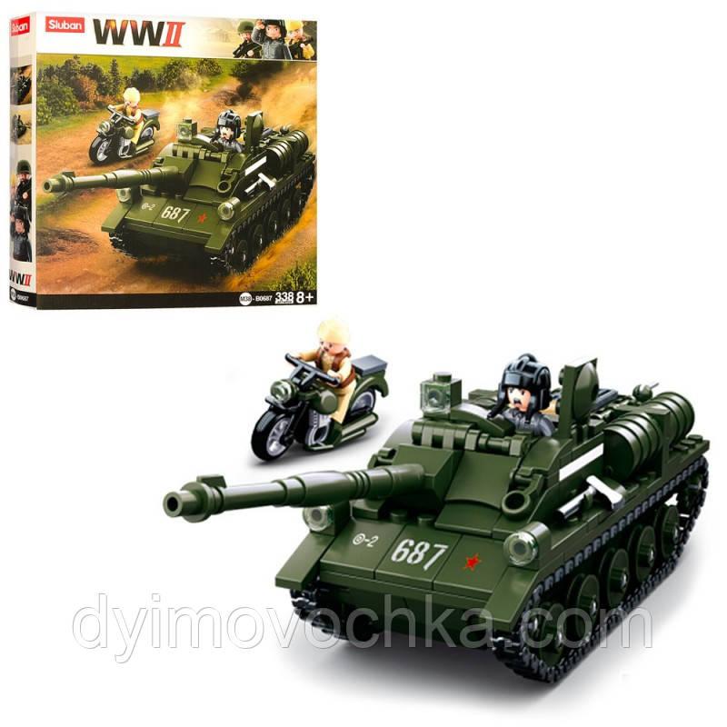 Детский конструктор SLUBAN M38-B0687, военный, танк, мотоцикл, фигурки, 338 деталей