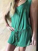 Платье-туника зелёная пляжная с капюшоном размер 42-48