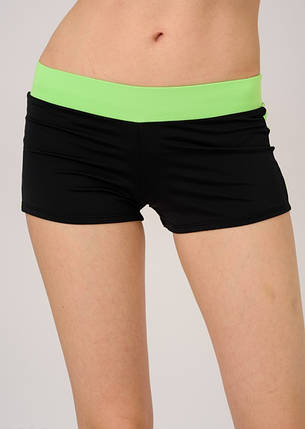 Спортивные шорты женские черный с салатовым пояском и лампасами размер M, фото 2