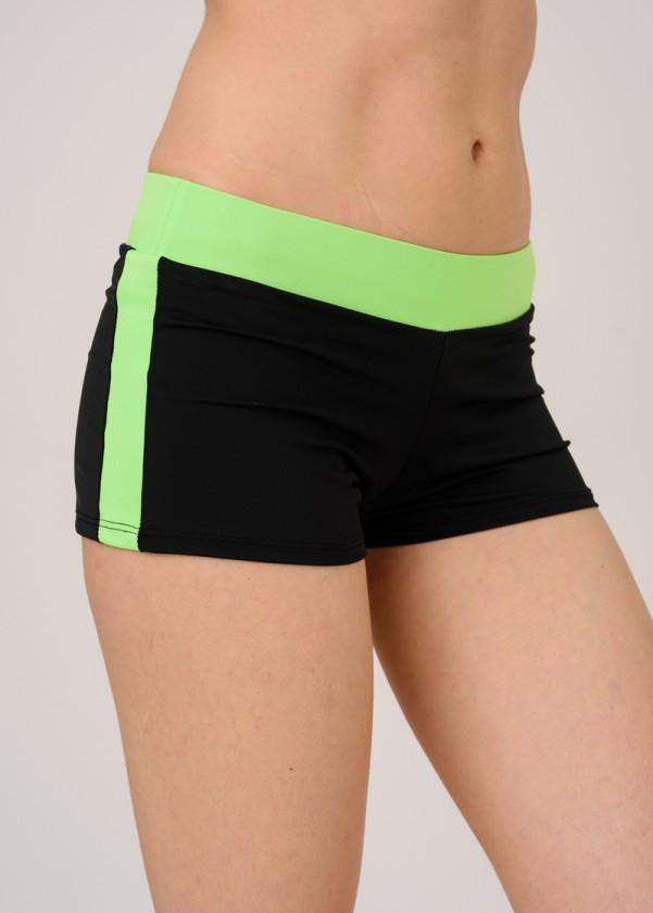 Спортивные шорты женские черный с салатовым пояском и лампасами размер M