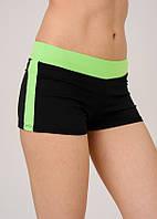 Спортивные шорты женские Issa Plus 9820 черный с салатовым пояском и лампасами