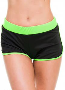 Спортивные шорты женские Issa Plus 9492 черный с салатовым