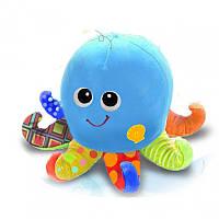 Детская игрушка осьминог 0142-NL, 11 см, звук, свет, музыка, вибро, плюш, на батарейке