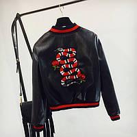 Женская куртка бомбер Snake из экокожи черная M