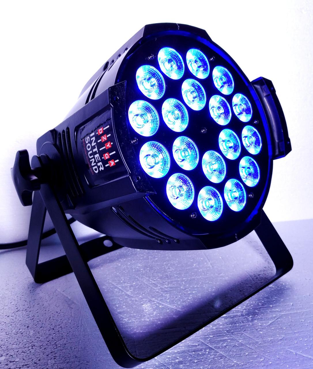 Прожектор заливального світла Led Par 18x18 RGBAW+UV DMX з ультрафіолетом