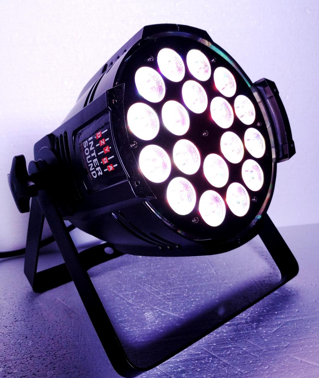 Світловий світлодіодний прилад Led par 18x18W RGBWA+UV 6in1 DMX