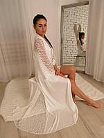 Шёлковый длинный Пеньюар со шлейфом+комбинация