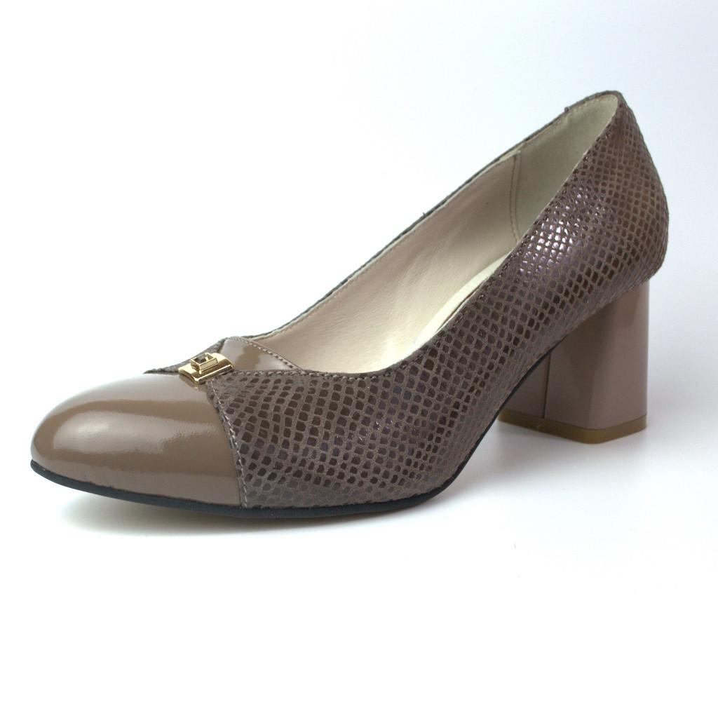 Туфлі човники на підборах жіноче взуття Pyra V Gold Havy Beige 6 by Rosso Avangard шкіряні темно бежеві
