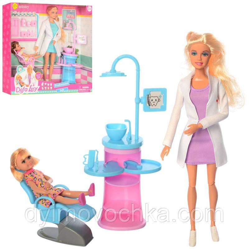 Кукла DEFA 8408, доктор (стоматолог), 29 см, шарнирная, дочка, мебель