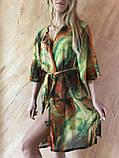 Пляжный халат с удлинённым рукавом в зелёных оттенках , фото 4