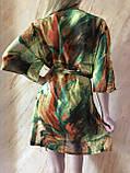Пляжный халат с удлинённым рукавом в зелёных оттенках , фото 3