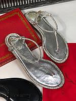 Утонченные кожаные сандалии RENE CAOVILLA серебро (реплика), фото 1