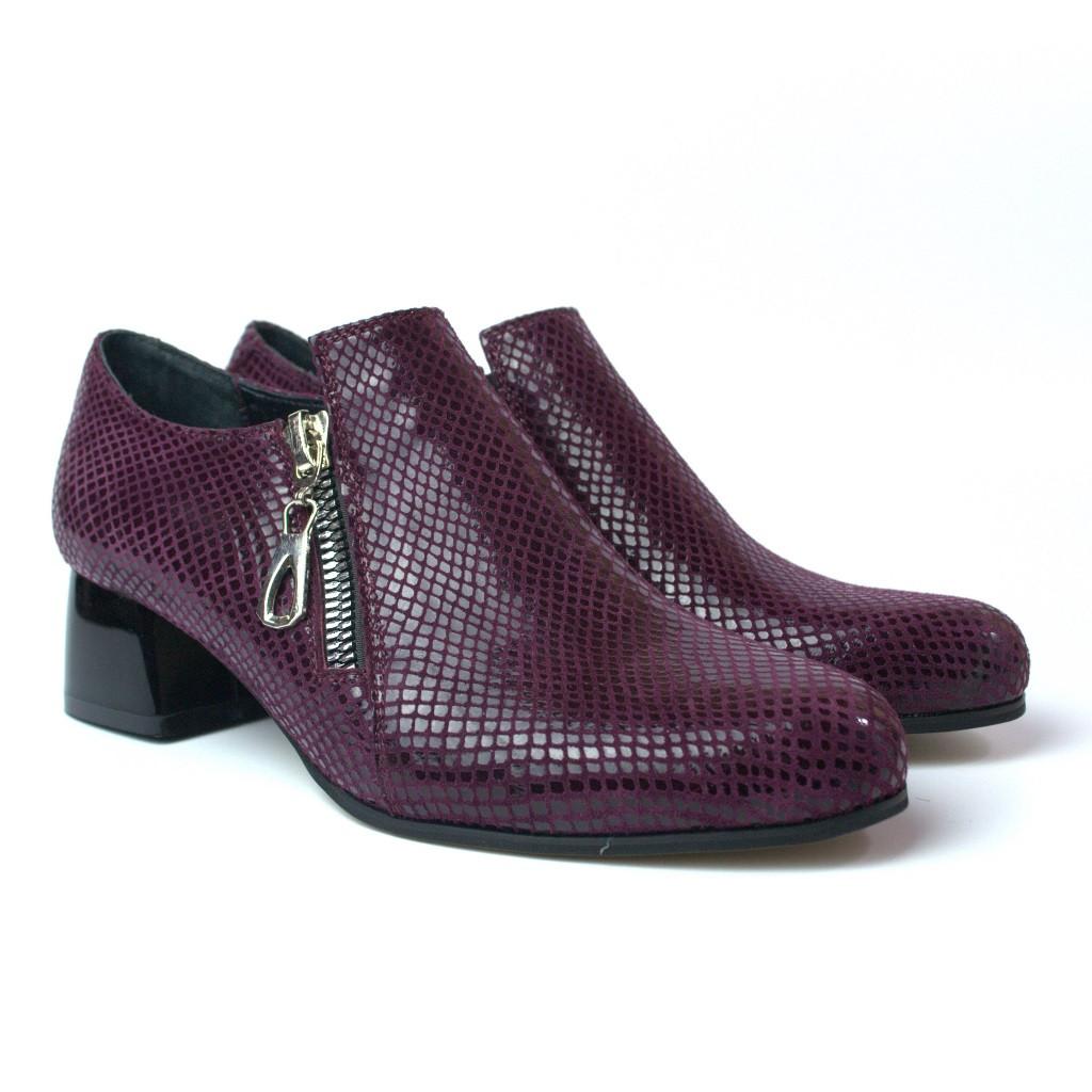 Туфли бордовые на каблуке женская обувь Eterno Zipript Burgundy Lether by Rosso Avangard