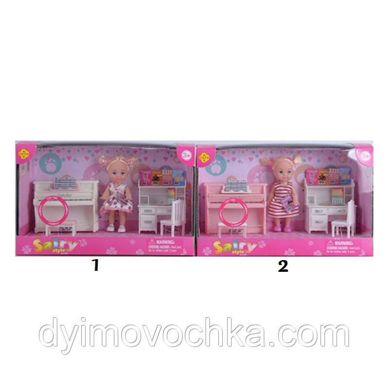 Кукла DEFA 8414, 10,5 см, пианино-музыка, стол, стул, на батарейке