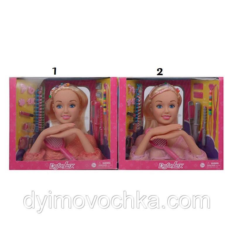 Кукла DEFA 8415 голова для причесок 23 см, плойка, косметика, заколочки