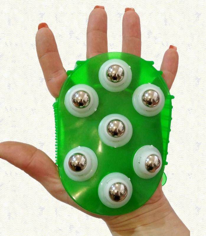 Рукавиця 3в1 масажна антицелюлітна з металевими кульками силіконова Roller Ball