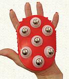 Рукавиця 3в1 масажна антицелюлітна з металевими кульками силіконова Roller Ball, фото 2
