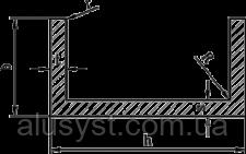 Алюминиевый швеллер | П профиль, Анод 19.6х20х1.8 мм