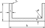 Алюминиевый швеллер   П профиль, Анод 35х20х1.5 мм