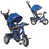 Детский велосипед M 3115HA-11, трехколесный, колясочный, свет, звук, темно синий