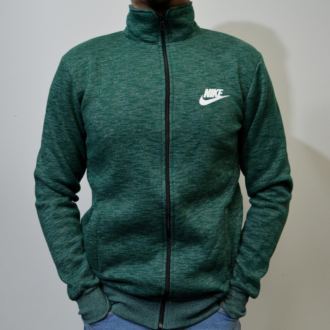 5ea401f0de7 Толстовка Nike (Найк)   Мужская кофта на молнии   трикотаж трехнитка -  темно-зеленая